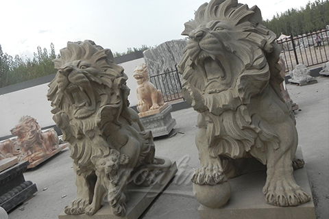 Outdoor garden stone lion statue for sale