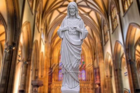 Religious Sacred Heart White Marble Christ Jesus Statues