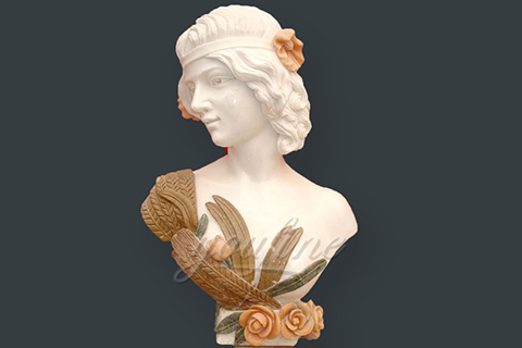 Hand carved decoration marble lady bust statues