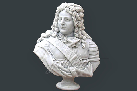 Hand carved marble bust statues of colonial man
