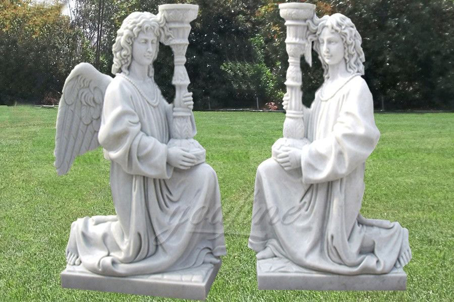 Carved decoration religious marble lamp with angel