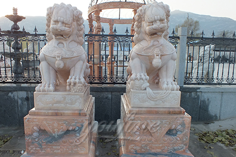 Outdoor garden marble Chinese fu dog statue