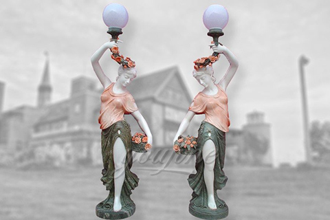 Outdoor decoration marble lady lamp statues