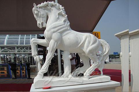 Garden white marble horse sculptures