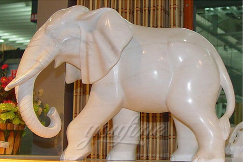 Hand carved white elephant statues
