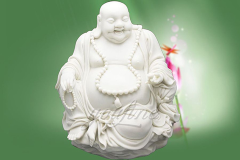 Decorative White Marble Laughing Buddha Statues