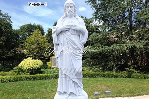 Carved Life Size Sacred Heart Marble Jesus Statues for Sale
