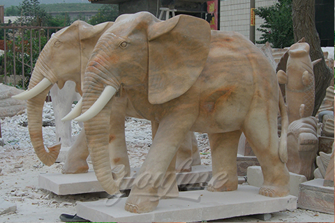 Outdoor natural carved marble elephant statuesOutdoor natural carved marble elephant statues
