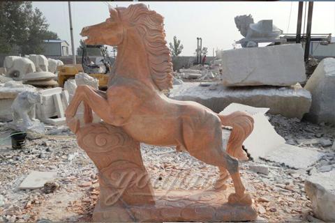Outdoor garden marble horse statue