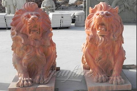 Decorative outdoor garden marble lion statues