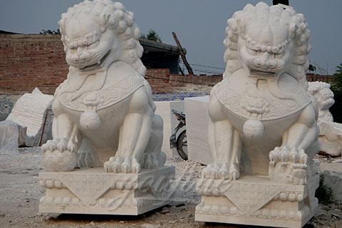 Decorative outdoor garden marble fu dog statue