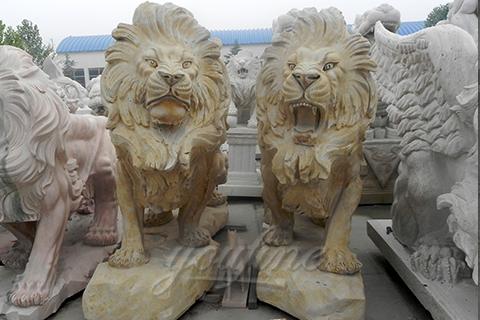 Decorative natural carved marble lion sculpture