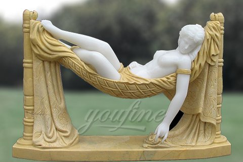 Carved garden marble nude lady sculptures sleeping on swing