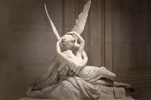 Hand carved famous marble statues of Cupid and Psyche
