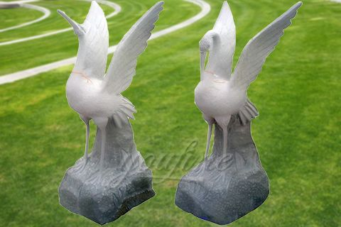 Outdoor natural carved marble crane statues